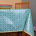 green lattice tablecloth, laminated cotton