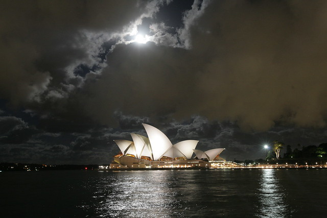 Full moon over Opera House Sydney