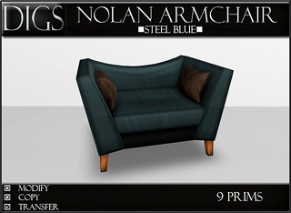 DIGS - Nolan Armchair - Steel Blue