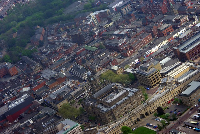 Bolton town centre - from the air