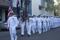 DARWIN, Australia (April 25, 2011) Sailors from the mine countermeasures ship USS Guardian (MCM 5) march in the ANZAC Day Parade. (U.S. Navy photo by Ensign Michael Burling)