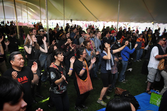The audience at the Cherry Esplanade stage gets into the grove. Photo by Mike Ratliff.