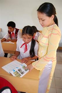 A teacher explains a lesson at the Kon Ray school.