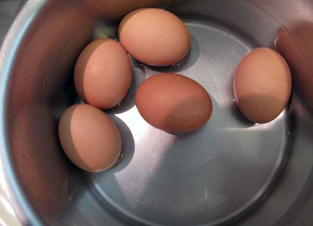 brown eggs, hard boiled