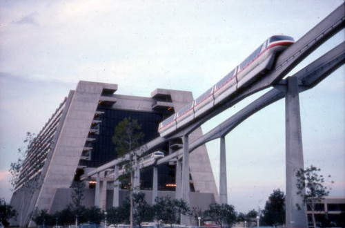 View showing monorail near Disney's Contemporary Resort hotel at the Magic Kingdom in Orlando, Florida