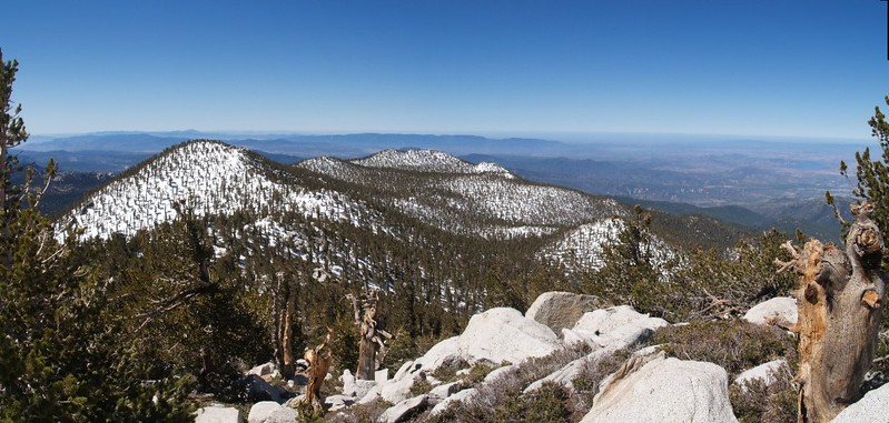 Jean Peak and Marion Mountain from the summit of San Jacinto. Newton-Drury Peak is the smaller bump on the right.