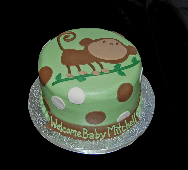 sage green and brown monkey baby shower cake flickr photo sharing