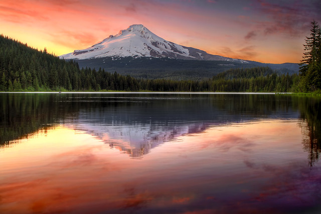 Reflection of Mount Hood on Trillium Lake at Sunset - HDR