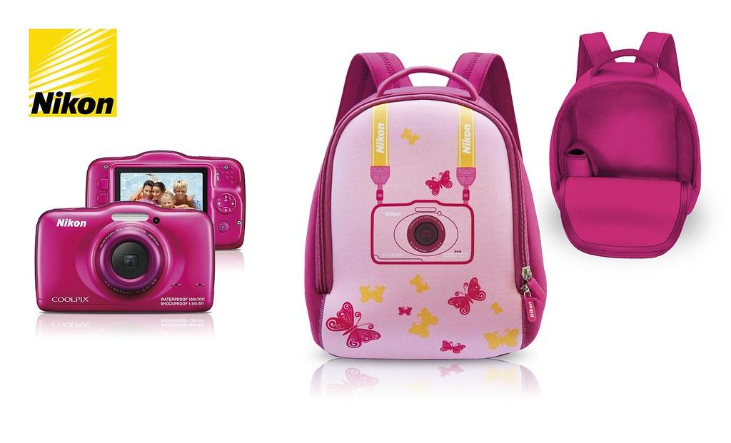Nikon Coolpix S32+zaino_pink