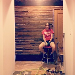 Taking a break while installing the lath feature wall. #reuse #gutrehab #indy