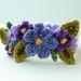 Crochet Purple Flowers Bracelet by meekssandygirl