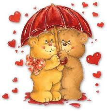 osos lloviendo corazones rojos