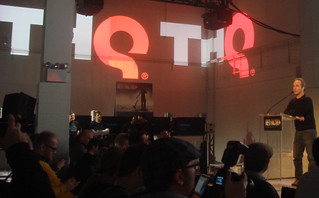 Danny Bilson speaks at a THQ event in NYC