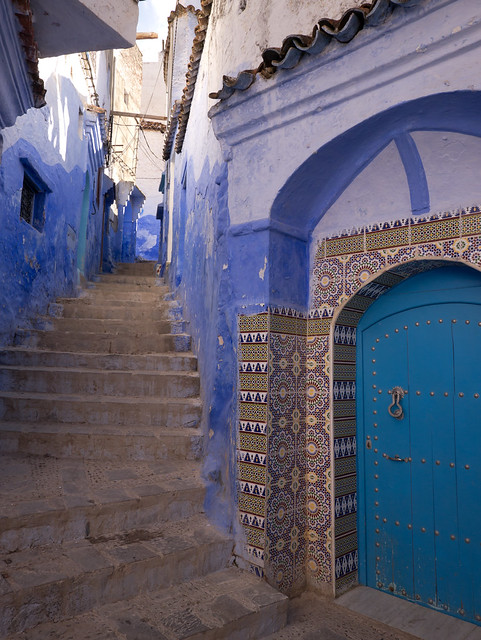Chefchaouen door, Morocco with Panasonic GX1 and Lumix 7-14mm lens