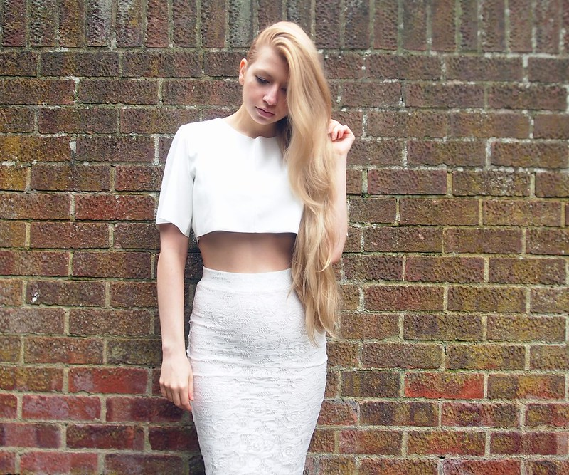 Sam Muses, UK Fashion Blog, London Style Blogger, Jane Norman, Pencil Skirt, Bodycon, Midi, Lace, Zip Back, High Waisted, Nicole x Missguided, Scherzinger, Crop Top, White, Faux Leather, How to Wear, Outfit Ideas, Style Inspiration, SS14