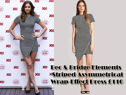 Irina Shayk in Bec & Bridge Elements Striped Asymmetrical Wrap-Effect Dress