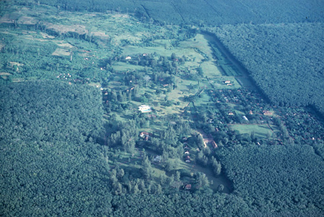 1966 Aerial view of buildings in Vietnam