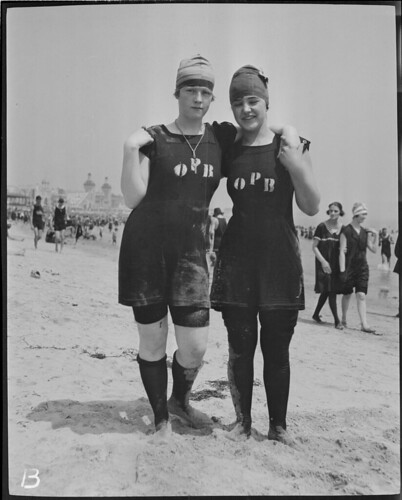 "Bathing girls wearing suits with ""O.P.B.,"" Revere Beach"