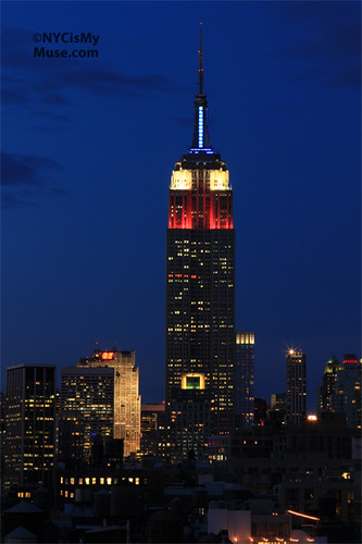 Empire State Building in red, white, blue for USOC & 100 days til London Olympics