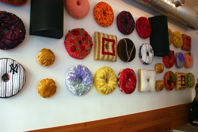 Wall of doughnut pillows!
