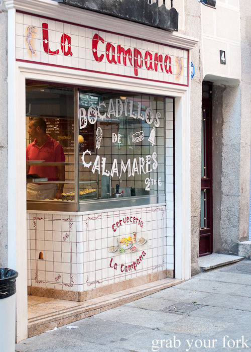Cerveceria La Campana famous for bocadillos de calamares in Madrid, Spain