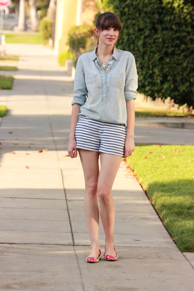 Striped Shorts, Floral Flats 4