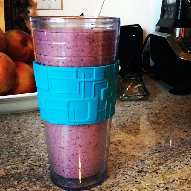 "Day 1, #Whole30 - ""dessert"" (coconut milk/berry smoothie)"