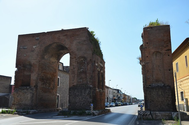 The Arch of Hadrian spanning the Appian Way, Southern side, Capua