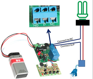 connecting a lamp to the relay module of clap switch