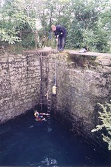 Lowering diving kit into the Source de Landenouse Image