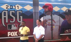 Justin Upton and Luis Gonzalez introducing @dbacks wrap of @metrorail train
