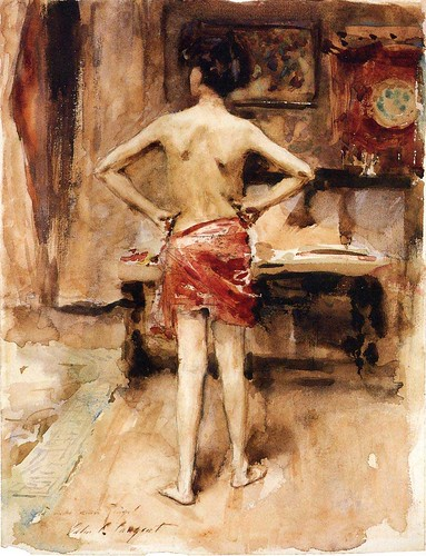 The Model - Interior with Standing Figure 1876, Watercolor on paper, laid down on board