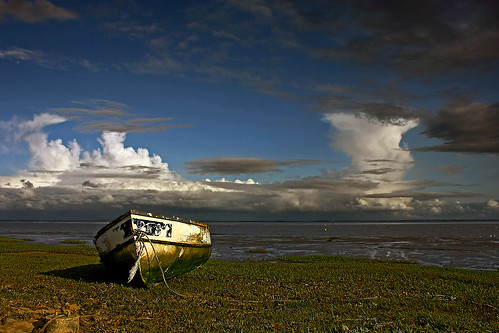 sea sky storm water grass rain weather clouds canon reeds evening coast boat fishing mud lancashire lytham estuary southport cumulonimbus fylde explored eos450d