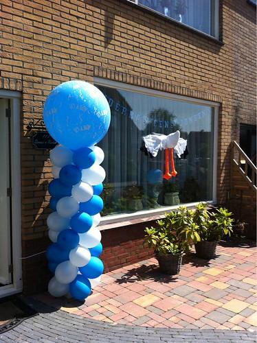 Ballonpilaar Breed Rond Geboorte Baby Jongen