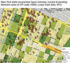 NY Liquor Authority Licenses in northern Lower East Side, NYC (10002)
