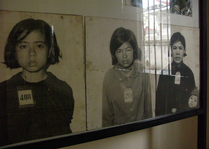 Photos of Khmer Rouge victims.