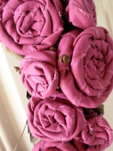 Fabric Rosette Grapevine Wreath