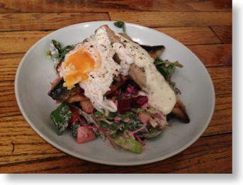 warm mackerel salad with poached egg and horseradish dressing