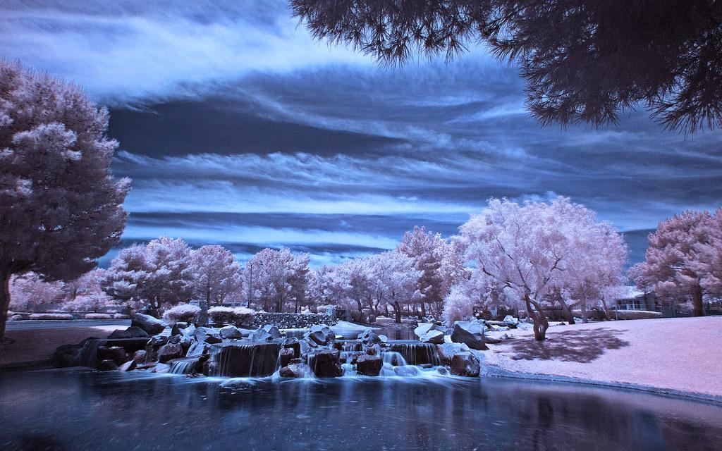 Park sky usa tree water clouds america landscape ir waterfall pond