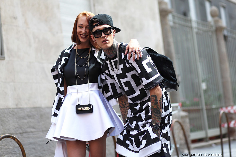 James Edward Quaintance and Leia Contois at Milan Fashion week