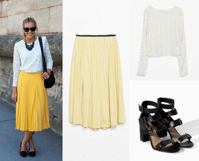 look falda amarilla