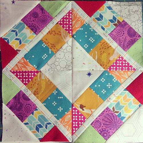 Whew. April's bee block done. Talk about the skin of one's teeth!