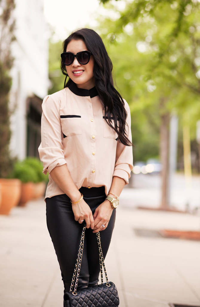 cute & little blog | petite fashion | pink chiffon shirt, leather panel ponte pants, louboutin pumps, chanel flap | classic edgy spring outfit