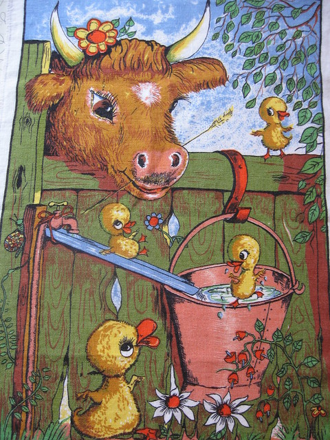 Vintage Lamont Irish Linen tea towel.