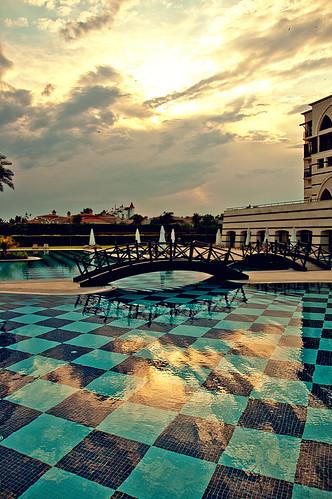 bridge blue sky reflection water pool clouds turkey hotel nikon asia türkiye resort swimmingpool antalya nikkor vr afs 尼康 fivestar kadriye thedome kempinski 18200mm 土耳其 亚洲 f3556g d40 ニコン 18200mmf3556g 安塔利亚