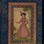 Album of Persian and Indian calligraphy and paintings, Woman in a European hat holding a flower, Walters Manuscript W.668, fol.18b