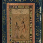 Album of Persian and Indian calligraphy and paintings, Two young women under a tree, Walters Manuscript W.668, fol.41a
