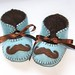 moustache baby boy booties