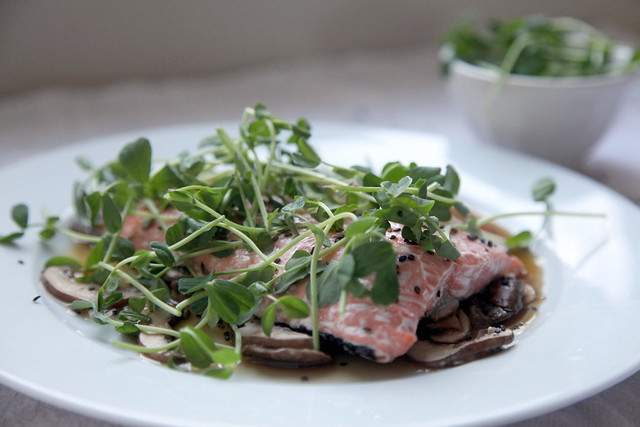 Sesame Salmon with Mushrooms and Pea Shoots