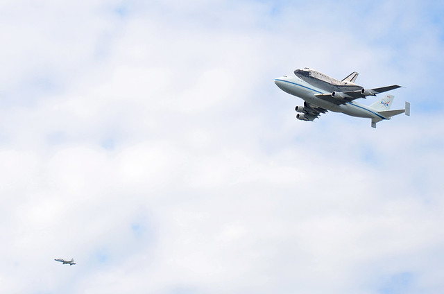 space shuttle discovery flyover